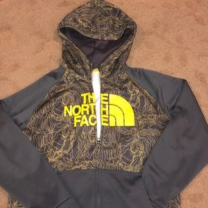 North face boys size L zippered hoodie gray